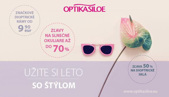 6a0de9eeb Užite si leto so štýlom s Optikou Siloe! Exkluzívne nové modely,  fantastické zľavy na slnečné okuliare, dioptrické rámy a sklá. J A navyše  vyšetrenie očným ...
